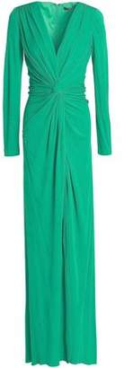 Badgley Mischka Twist-Front Layered Crepe Gown