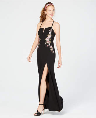 Speechless Juniors' Embroidered Slit Gown