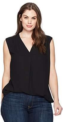 Nine West Women's Plus Size Crepe V Neck Solid Blouse