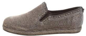 Stuart Weitzman Metallic Embellished Slip-On Sneakers