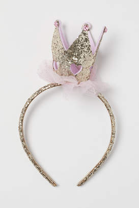H&M Glittery Hairband with Crown - Gold