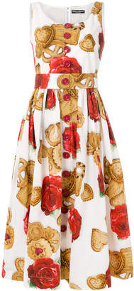 Dolce & Gabbana rose biscuit print flared dress