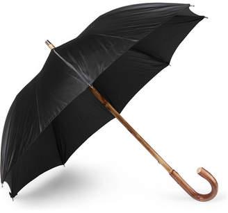 Francesco Maglia Lord Chestnut Wood-Handle Striped Twill Umbrella