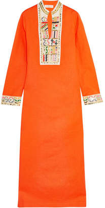 Tory Burch Embroidered Linen And Cotton-blend Maxi Dress - Orange