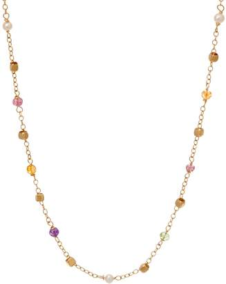 "Italian Gold 18"" Multi-Bead Gemstone Necklace 14K Gold, 2.7g"