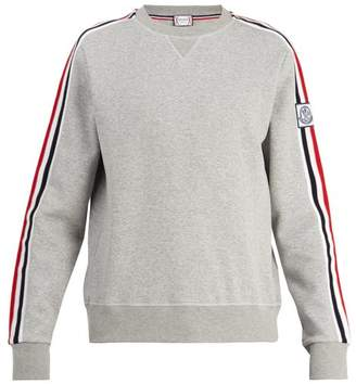 Moncler Gamme Bleu Striped Sleeve Cotton Blend Sweater - Mens - Grey