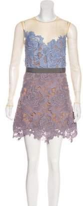 Self-Portrait Embroidered Long Sleeve Mini Dress