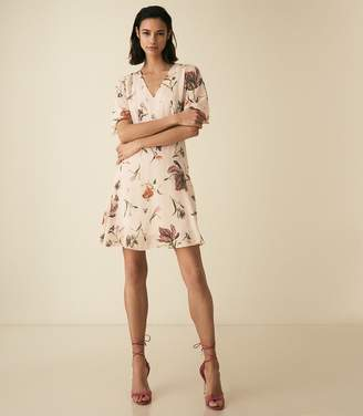 Reiss RUBY FLORAL PRINTED DAY DRESS Floral White