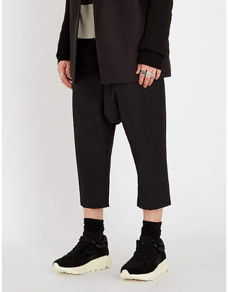 Rick Owens Dropped-crotch cropped wool-blend trousers