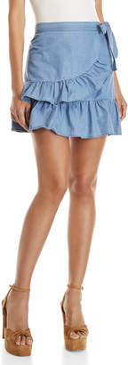 Love Tree Ruffled Wrap Denim Mini Skirt