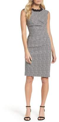 Adrianna Papell Embellished Jacquard Sheath Dress