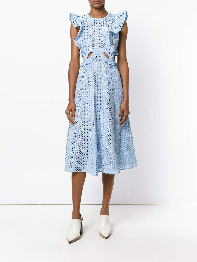 Self-Portrait ruffle trim cut -out dress