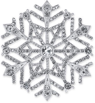 Charter Club Silver-Tone Crystal Snowflake Pin, Created for Macy's