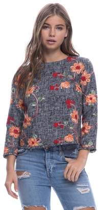 Endless Rose Embroidered Tweed Top
