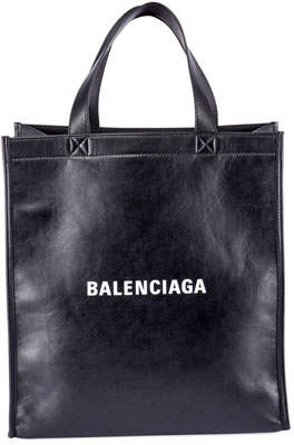 Balenciaga Men's Small Logo Typographic Leather Shopper Tote
