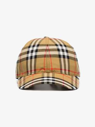 Burberry antique yellow classic check cotton cap