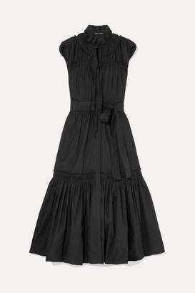 Proenza Schouler Ruffled Tiered Cotton-poplin Dress - Black