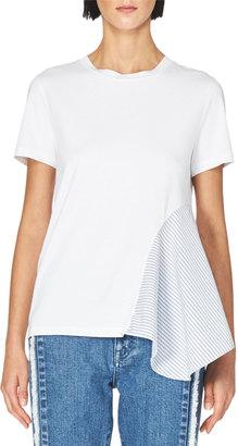 Stella McCartney Stripe-Panel Cotton T-Shirt, White