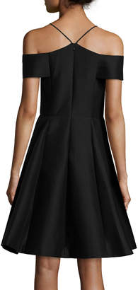 Halston Sleeveless Split-Neck A-line Cocktail Dress