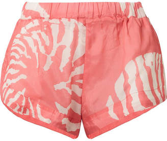 Double Rainbouu - Printed Washed-satin Shorts - Papaya