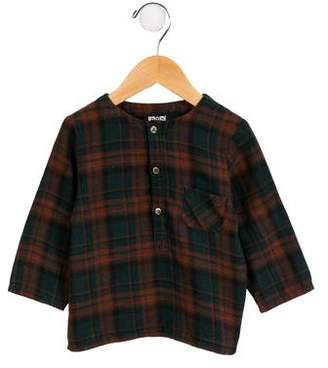 Bonton Boys' Plaid Button-Up Shirt