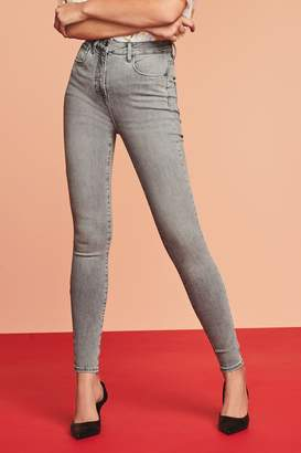 Next Womens Pale Grey Hypercurve Skinny Jeans - Grey
