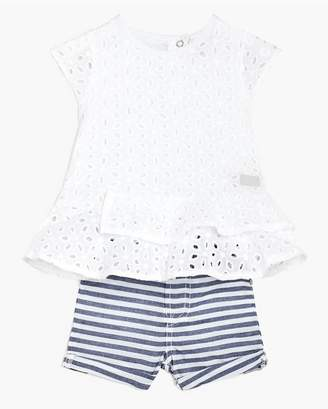 7 For All Mankind Kids Girls 2T-4T Peplum Top Short In Bright White