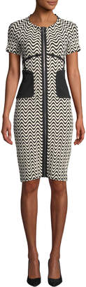 Yigal Azrouel Wavy Super-Stretch Zip-Front Dress