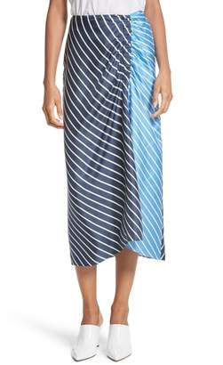 Tibi Delphina Colorblock Stripe Silk Midi Skirt