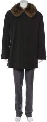 Giorgio Armani Hooded Button-Up Coat
