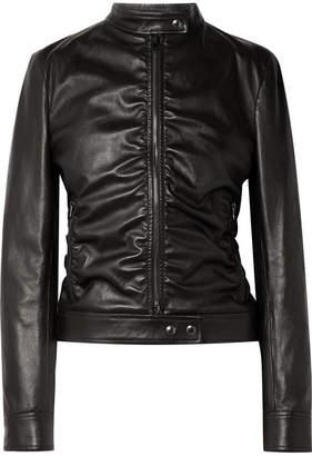 Tom Ford Ruched Leather Biker Jacket - Black