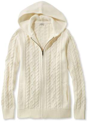 L.L. Bean L.L.Bean Double L Mixed-Cable Sweater, Zip-Front Hoodie