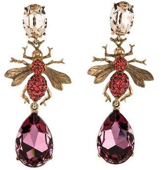 Oscar de la Renta Crystal Bug Clip-On Earrings