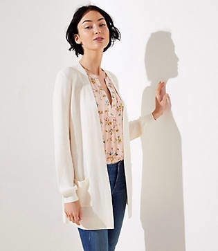 LOFT Ribbed Stitch Pocket Open Cardigan