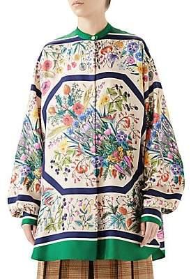 Gucci Women's Silk Twill Floral Tunic Blouse