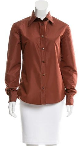 prada Prada Silk-Blend Button-Up Top
