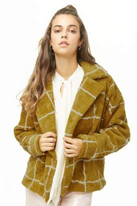 Forever 21 Grid Print Faux Shearling Coat