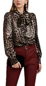 Dolce & Gabbana Women's Leopard-Pattern Silk-Blend Lamé Tieneck Blouse