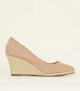 New Look Nude Suedette Pointed Espadrille Wedges