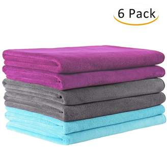 """Unbranded Solid Microfiber 6 -Piece Bath Towel Set (27"""" x 55"""") - Extra Absorbent, Fast Drying Perfect For Fitness,Sports,Yoga,Light Blue /Grey /Purple"""