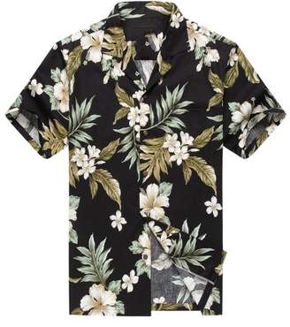 Hawaii Hangover Made in Hawaii Men's Aloha Shirt Cluster Floral Leaf in Black and Green