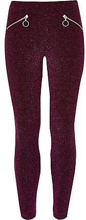 Girls Purple glitter disco leggings