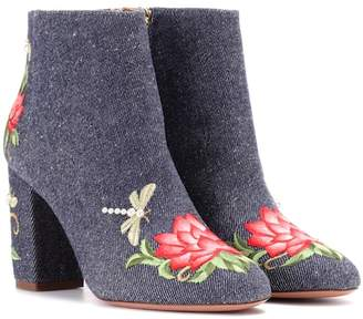 Aquazzura Lotus 85 denim ankle boots