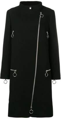 Moschino mock neck zipped coat
