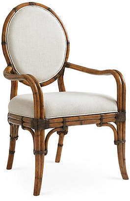 Tommy Bahama Gulfstream Oval Armchair - Ivory/Gold