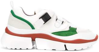 Chloé white and green Sonnie leather and suede multi strap sneakers
