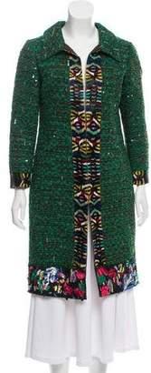 Oscar de la Renta Embellished Silk Coat