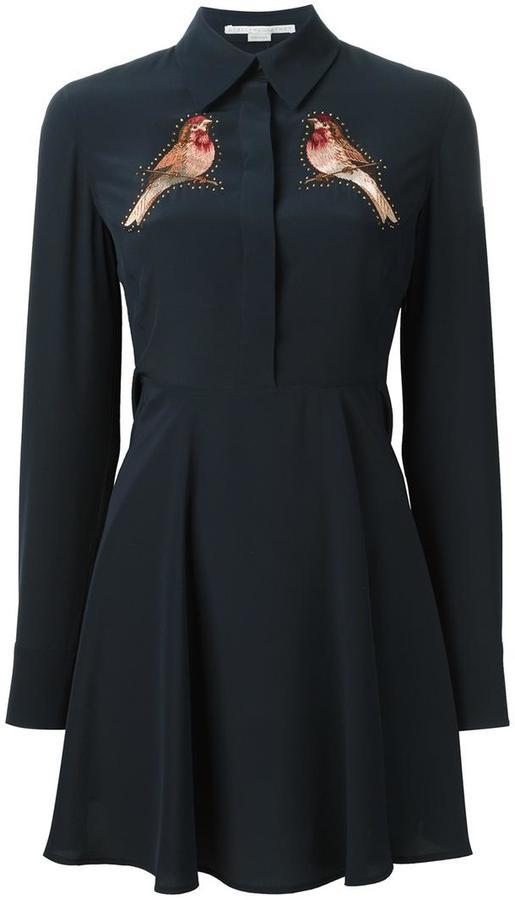 Stella McCartneyStella McCartney embroidered robin shirt dress