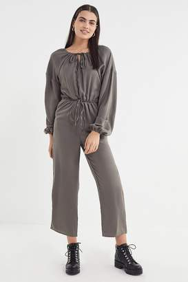 Lucca Couture Satin Tie-Waist Jumpsuit
