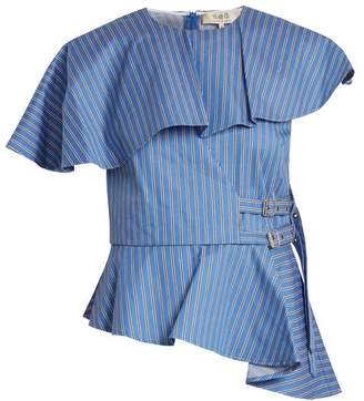 Sea Striped Strap Side Cotton Twill Top - Womens - Blue Multi